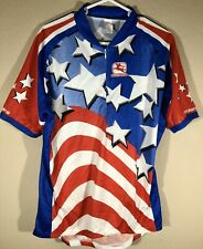 Giordana Cycling Jersey Red White & Blue Stars And Stripes Size XL Quarter Zip