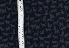 Fat Quarter Fade To Black Cats 100% Cotton Quilting Fabric KANVAS