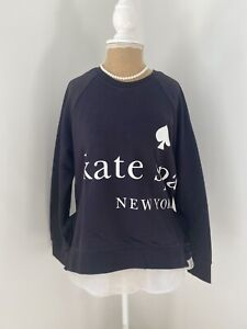Kate Spade New York Black Sweatshirt with White Logo and Frills Small
