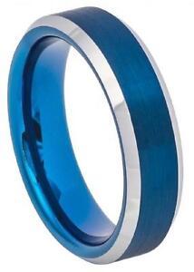 6mm Tungsten Ring Blue IP Brushed Center Polish Stepped Beveled Edge