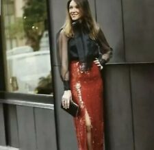 NWT Zara Red Sequin Midi Skirt Cocktail Size XS 34