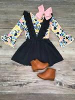 Girls Toddler Suspender Skirt Set Navy Blue Poppy Pinstripe Set 2T 3T 4T 5 6 7 8