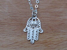 Hamsa necklace, silver hamsa necklace, silver hand necklace, lucky necklace,