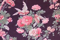 """Antique French c1906 Pink Roses & Birds Satin Textile Fabric Sample~L-20""""X W-32"""""""