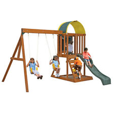 Wooden Swing Set Slide Kids Playground Outdoor Backyard Children Play w/ Sandbox