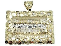10 k Gold Pendant, Yellow Gold Last Supper Pendant Charm Jesus Nugget Cross,REAL