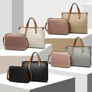 2 in 1 Set Shoulder Bag Ladies Faux Leather Structured Handbag Women Designer