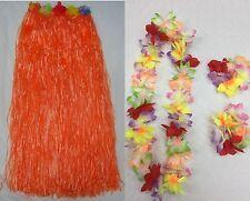 Red 80cm Long Hawaiian Skirt Hula Grass Luau Costume Beach Pool Party Tropical