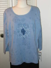 LIGHT BLUE LONG SLEEVE TOP,SHIRT,BLOUSE BY GRAFF EXTRA LARGE NEW RETAILS $44. XL