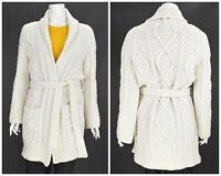 Womens Burberry London Chunky Knit Cardigan Merino Wool Beige White Size M