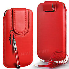 MAGNETIC PU LEATHER PULL FLIP TAB CASE COVER & 3.5MM JACK CABLE FOR HTC PHONES