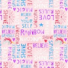 Wilmington Sparkle Magic Shine 83105 336 Pink Words Cotton Fabric