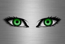 2x sticker eye helmet vinyl motorcycle kart evil eyes van racer decal green