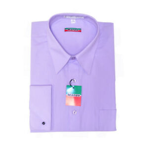 New men's dress shirt formal french cuff lilac long sleeve wedding prom party