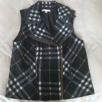 CAbi Womens Vest Black Grid Plaid Wool Blend Moto Zip Faux Leather Large