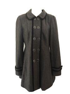Tokito Grey Coat Jacket Size 14 Button Front Pockets Collar