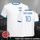 Argentina Football Ringer T-shirt, Personalise, Gift, Retro, World Cup, Messi