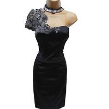 KAREN MILLEN Black One Shoulder Lace Beaded Cocktail Wiggle Pencil Dress 10 UK