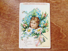 1800s Victorian Trade Card Liebig Company Fleisch Extract German Flora's Kinder