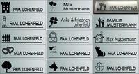 Schild Briefkasten Tür Klingel Wunschnamen und Motiv Edelstahl  V2A  Sondergröße