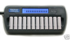 12 Slot 12 Bank DC1212 Fast LCD Battery Charger AA AAA NiMH NiCd 12 bay Refresh
