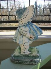 ANTIQUE ORIGINAL CAST IRON SUNBONNET GIRL W/O BOW ART STATUE DOORSTOP