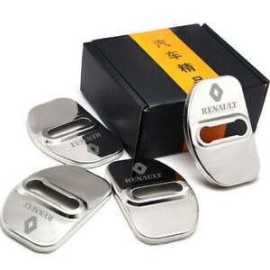 4pcs/set Car Stainless steel Door Lock Cover Buckle Cap trim Fit For Renault