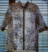 Christopher & Banks XL Tunic Top 3/4 Sleeve Button Front Semi Sheer Burnout