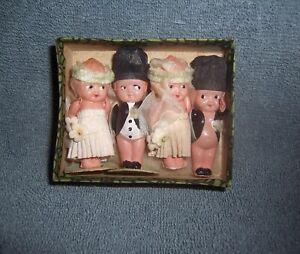 4 Vintage Japan Celluloid Dolls~2 Wedding Bride & Groom Cake Topper Sets in Box