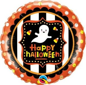 """18"""" Inch 46 cm Qualatex Balloon Round Foil Halloween Ghost & Candy Corn Party"""