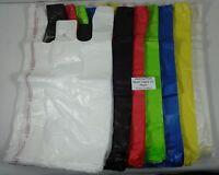"Qty. 200 Plastic T-Shirt Bags Retail Handles 11.5"" x 6"" x 21"" Variety of Colors"