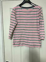 Joules White Pink Stripes T Shirt Long Sleeve Size 14 Womens Great Cond (D317)