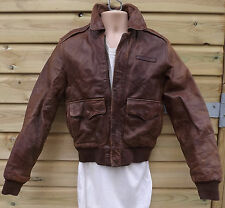 Vintage AVIREX Brown Leather A2 Flying / Pilot / Aviator Jacket - S