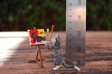 """Vintage / Antique Vienna Bronze Miniature Anthropomorphic """"Painting Cat"""" (19 C)"""