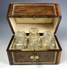 Antique French Scent Caddy, 3 Perfume Bottles, Napoleon III Era, Boulle w/ Key