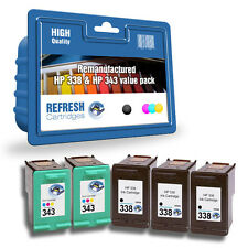 Refresh Cartuchos 5 Pack Of 338 & 343 Ink Compatible con hp Impresoras