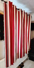 red white brown striped Curtains Eyelet Ring Top panel Lined Pair Curtains