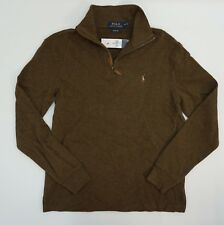 Polo Ralph Lauren Mens Shirt 1/4 1/2 Zip Sweater S Brown Estate Rib Pullover $89
