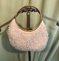 Sweet Vintage 50's White Beaded Shimmy Evening Bag w Dangling Spangles