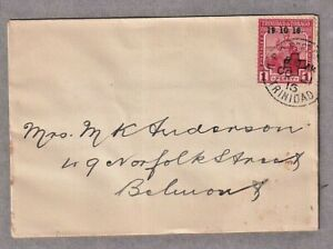 1916 KGV 1d SG15 Local Cover Port of Spain To Norfolk Street Belmont Trinidad