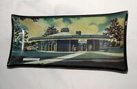 Vtg Smoke Smokey Glass Dish Bank Advertising Canton Rotunda Round Bank 50s Auto