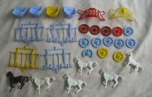 CHARIOT LOT - Ben Hur Marx Playset - WHEELS, Horses, Harness Pieces, etc.