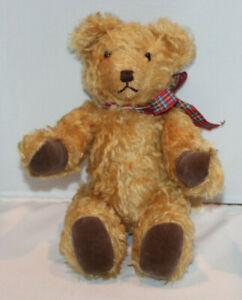 "handmade jointed 12"" brown stuffed teddy bear named ""Bearly"" made 1997"