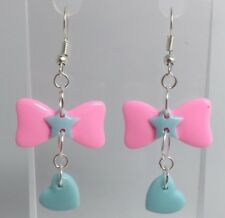 Pink Bow Blue Bow Heart Dangle Earrings G220 5.5 Cm Long Pastel Kawaii Barbie