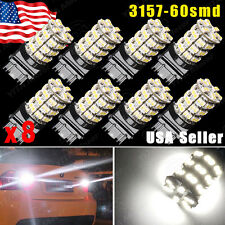 8X White 3157 60-SMD LED Car Parking Light bulbs 3157A 3457A 3757A 3457 3057 T25