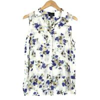 Lumiere Womens Sleeveless Floral Top Sz Med White Pleated Back Button Up Blouse