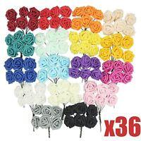 36x BULK Regular Colourfast Foam Roses! Wedding Craft Bridal Fake Silk Quality