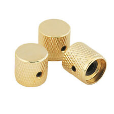 3 PCS Electric Guitar / Bass Tone Volume Control Knobs Gold Metal Flat Top