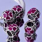 5Pcs fuchsia Enamel Silver Filled crystal Charm Bead For European Bracelet