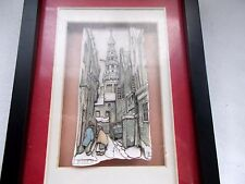 3D Shadow Box Cut Out Picture Leiden Signed 5 x 7